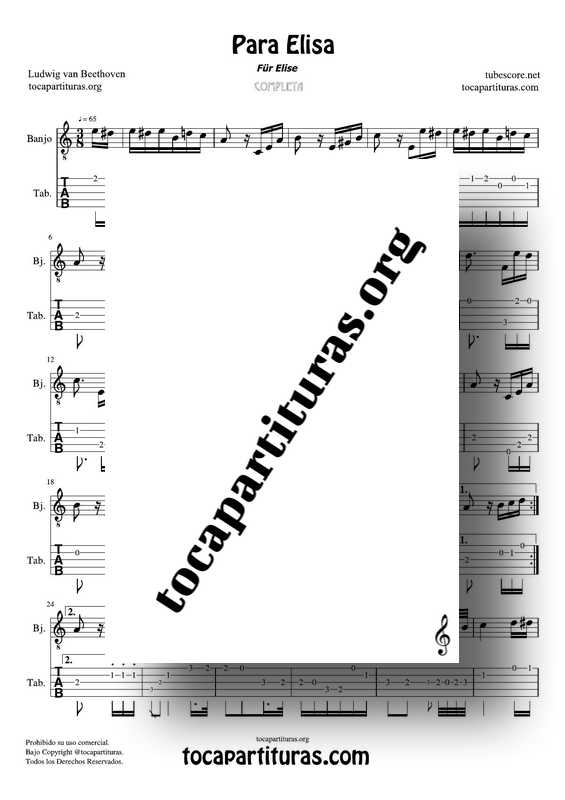 Fur Elise (Para Elisa) PDF MIDI Partitura y Tablatura del Punteo de Banjo Completa Tono Original La m