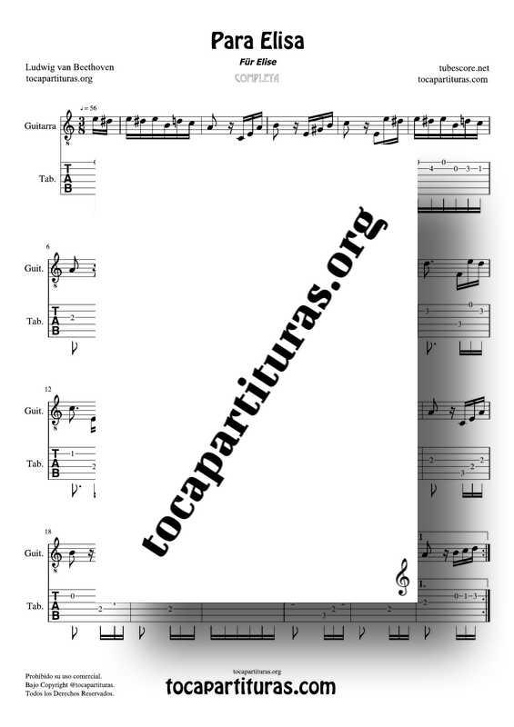Fur Elise (Para Elisa) PDF MIDI Partitura y Tablatura del Punteo de Guitarra Completa Tono Original La m