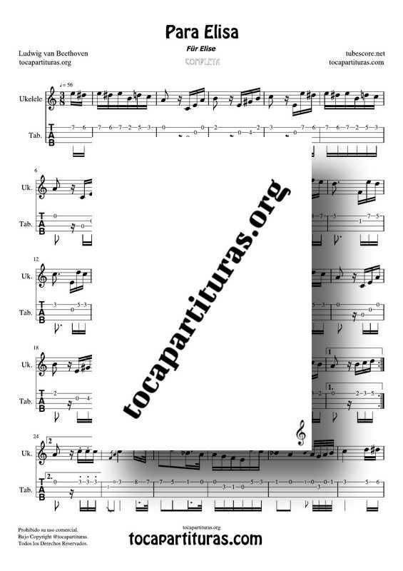Fur Elise (Para Elisa) PDF MIDI Partitura y Tablatura del Punteo de Ukelele Completa Tono Original La m