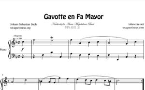 Gavota en Fa Mayor BWV Anh. 131 de Bach Partitura de Piano