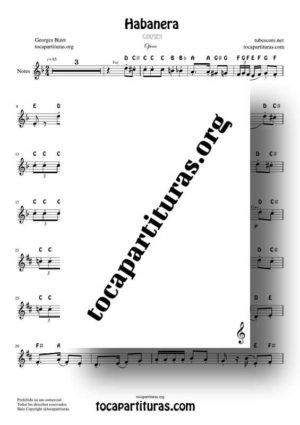 Habanera (Carmen by Bizet) Notes Sheet Music for Treble Clef (Violín, Oboe, Flute, Recorder…)