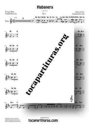Habanera (Carmen de Bizet) Partitura Fácil con Notas en letra en Clave de Sol