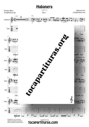 Habanera (Carmen de Bizet) Partitura y Tablatura del Punteo de Guitarra PDF / MIDI (Guitar Tabs)