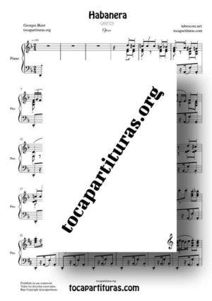 Habanera (Carmen de Bizet) Partitura de Piano