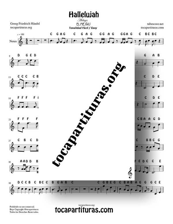 Hallellujah by Handel PDF MIDI Easy Notes in C Major Sheet Music for Flute Recorder Violin Oboe