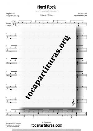 Hard Rock Partitura Fácil de Batería (Drum Styles)