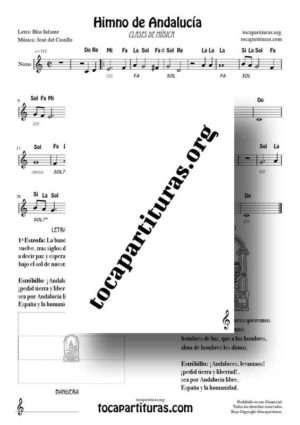 Himno de Andalucía Partitura Fácil con Notas Ficha 1 (incluye letra y acordes) para Flauta, Trompeta, Violin, Clarinete…