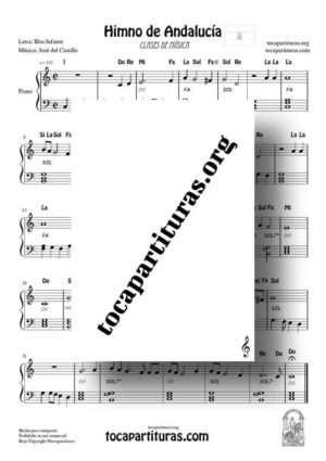 Himno de Andalucía Partitura de Piano Muy Fácil en Do con Notas y Acordes  para poder acompañarlo