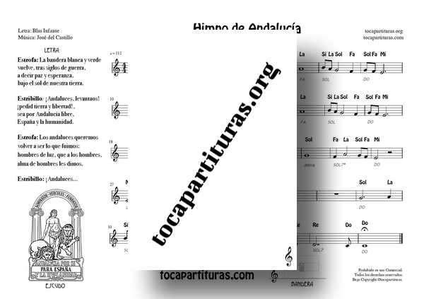 Himno de Andalucía PDF y MIDIPartituras con Notas y Letra Ficha 2 para Flauta Violin Oboe