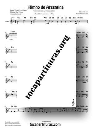 Himno Nacional de Argentina Partitura con Notas (versión de la voz cantada)