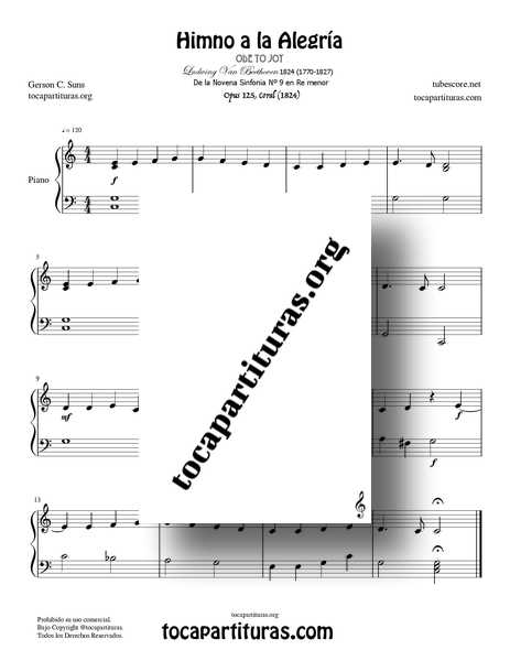 Himno de la Alegría Partitura PDF MIDI MP3 de Piano Fácil en DO Mayor