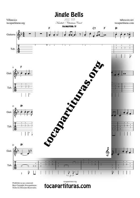 Jingle Bells Jazz Partitura y Tablatura con números de Guitarra Punteo Tab en Fa Mayor (F)