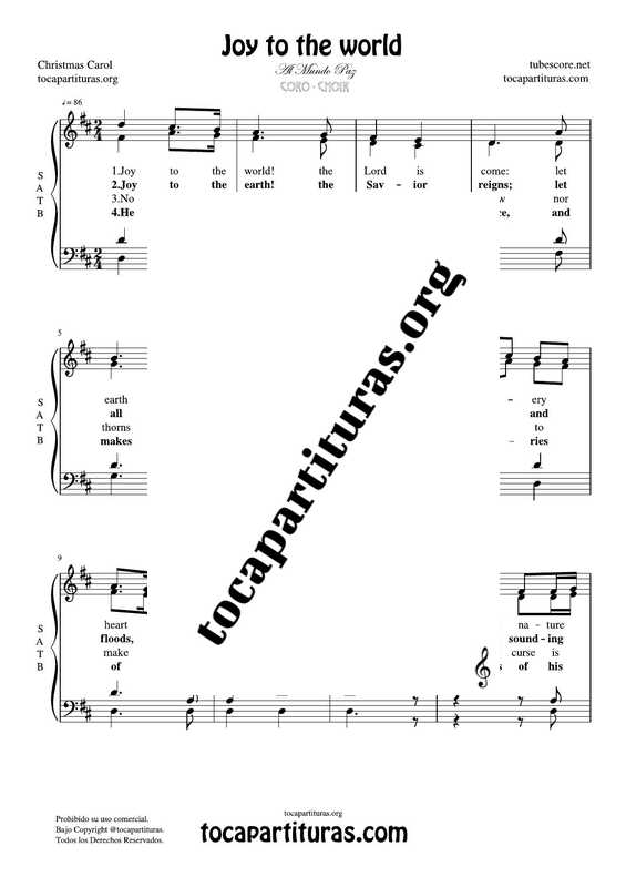 Joy to the world SATB Chorus PDF MIDI Sheet Music for 4 voices CORO