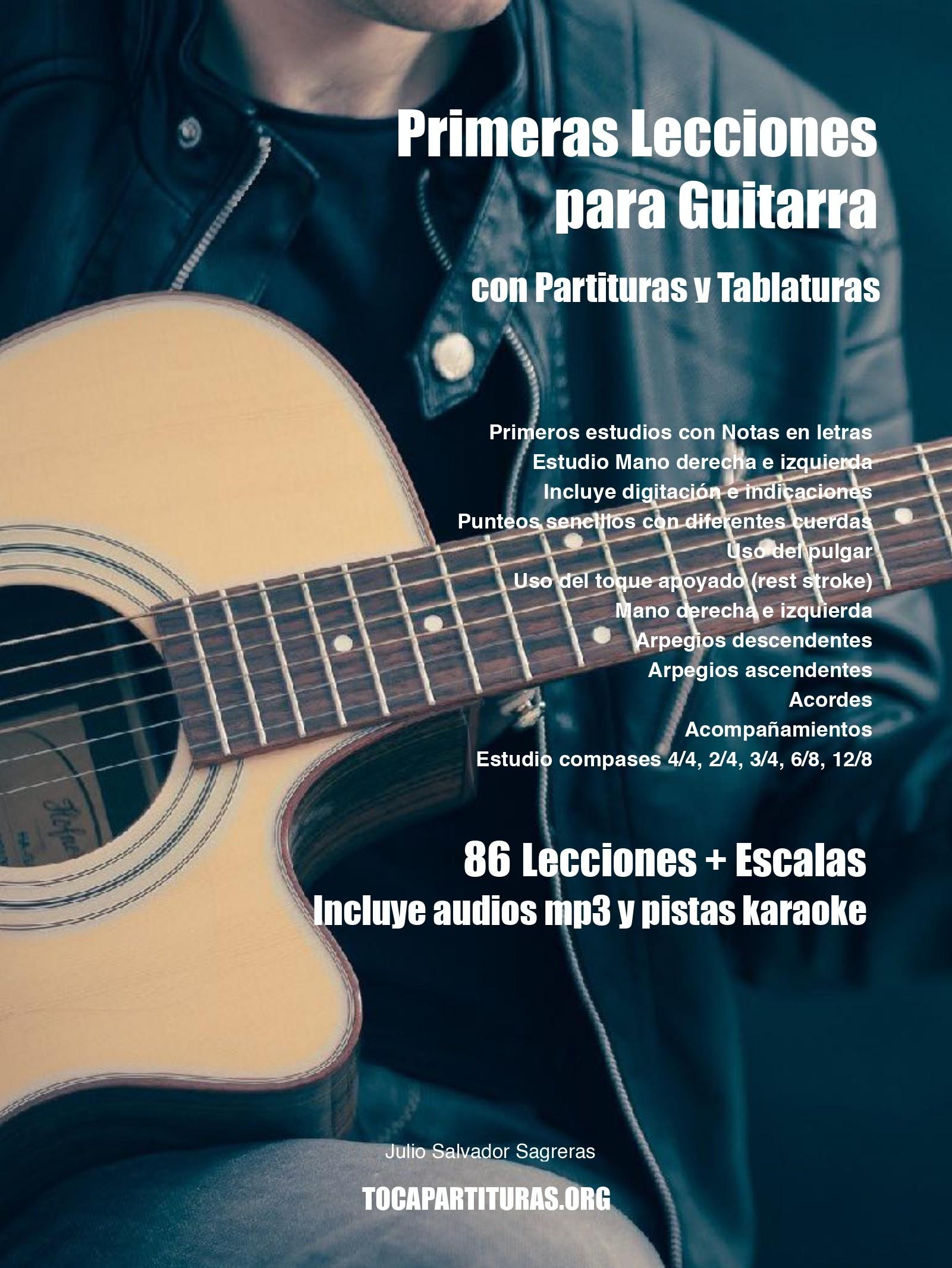 LIBRO PDF 86 LECCIONES PARA APRENDER GUITARRA + ESCALAS Partitura y Tablaturas de Guitarra