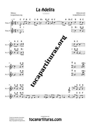 La Adelita Notes Duet Sheet Music for Treble Clef (Violín, Oboe, Flute, Recorder…)