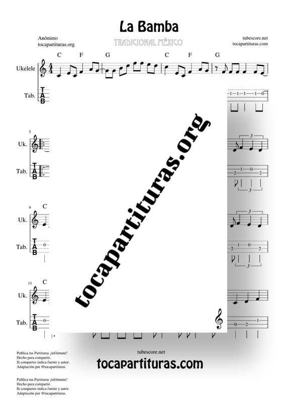 La Bamba Tablatura Partitura de Ukelele Punteo Tab Easy Ukelele Tablature Sheet Music