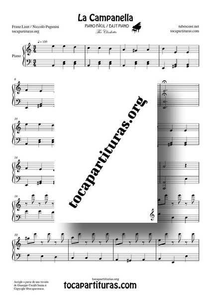 La Campanella Partitura PDF MIDI de Piano Fácil en La m The Clochette