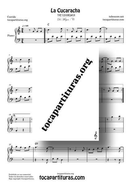 La Cucaracha Partitura PDF MIDI de Piano Fácil en Do Mayor