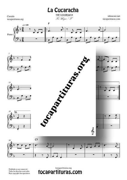 La Cucaracha Partitura PDF MIDI de Piano Fácil en Fa Mayor1