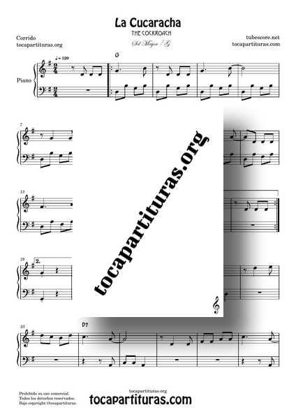 La Cucaracha Partitura PDF MIDI de Piano Fácil en SOL Mayor