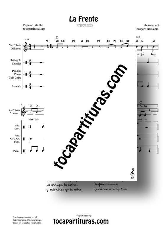 La Frente Partitura PDF y MIDI de Flauta, Voz, Xilófono, Pandero, Triángulo, Palmas, Claves... Percusión y Placas