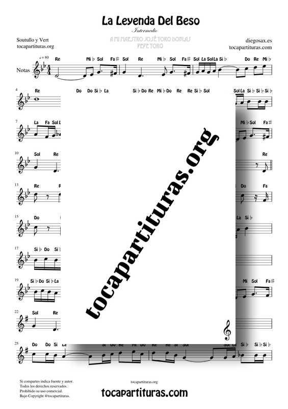 La Leyenda Del Beso PDF MIDI KARAOKE Partitura con Notas en letra de Flauta Violín Oboe... Clave de Sol