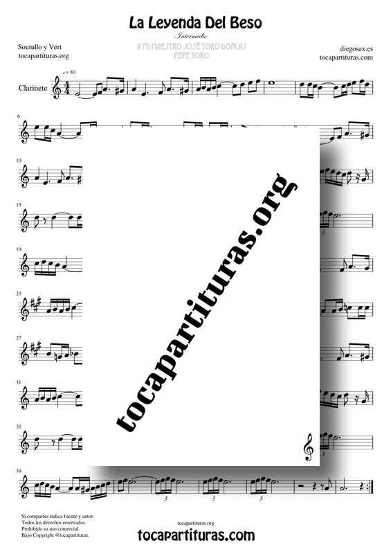 La Leyenda Del Beso MIDI MP3 KARAOKE Partitura de Clarinete