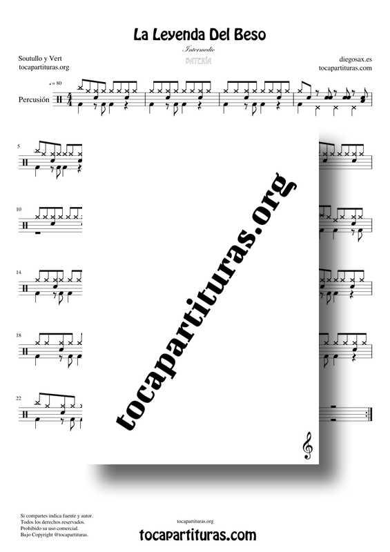 La Leyenda Del Beso PDF KARAOKE MIDI Partitura de Percusión Batería - Versión