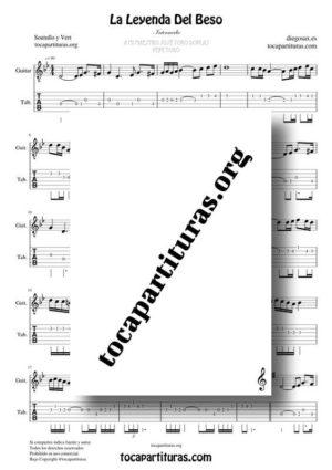 La Leyenda del Beso Partitura y Tablatura de Guitarra