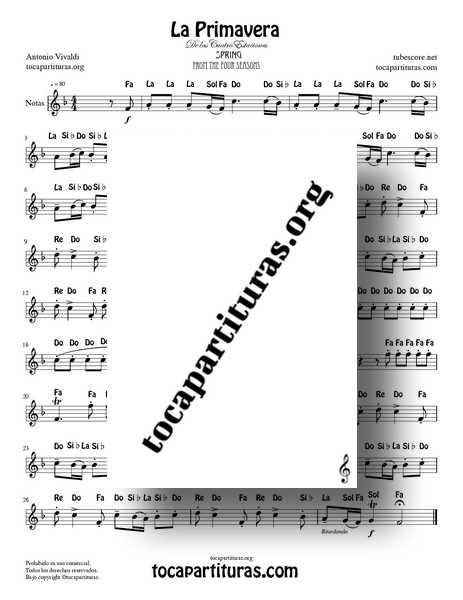 La Primavera Partitura PDF y MIDI con Notas Versión Fácil de Flautas Violín Oboe... de las 4 Estaciones de Vivaldi