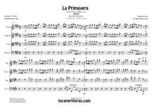 La Primavera de Vivaldi Partituras de Cuarteto de Cuerda (Guión, Violín 1º y 2º, Viola 1ª y Chelo) + Piano