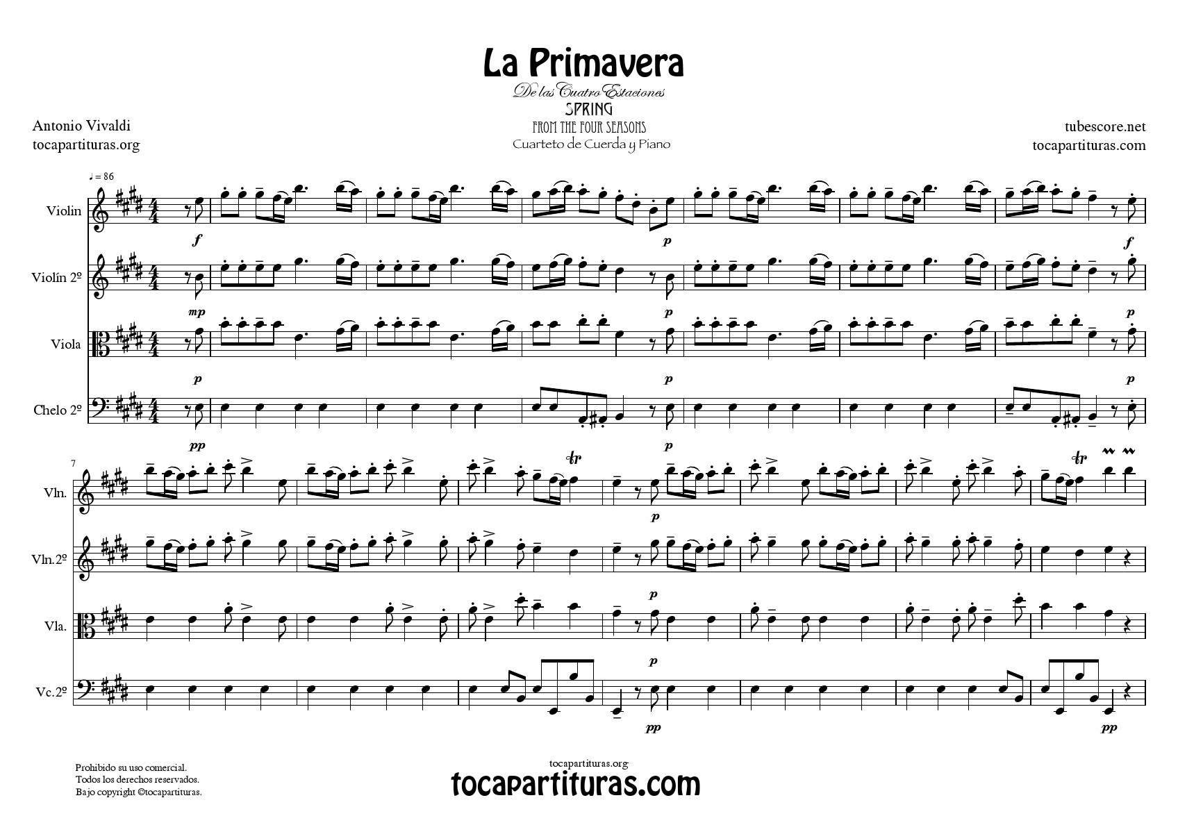 La Primavera de Vivaldi Partitura GUIÓN Cuarteto de Cuerda y Piano Tono Original de las 4 Estaciones VENTA PDF Y MIDI
