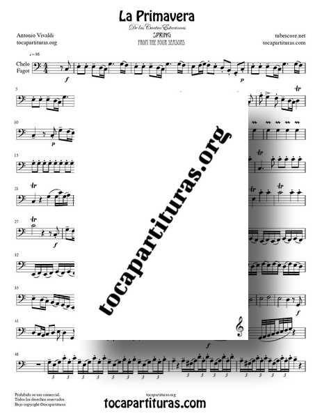 La Primavera de Vivaldi Partitura de Chelo y Fagot Completa Tono Do M de las 4 Estaciones PDF MIDI