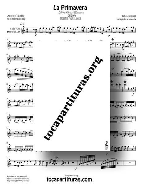 La Primavera de Vivaldi Partitura de Saxofón Alto Completa Tono DoM de las 4 Estaciones PDF MIDI