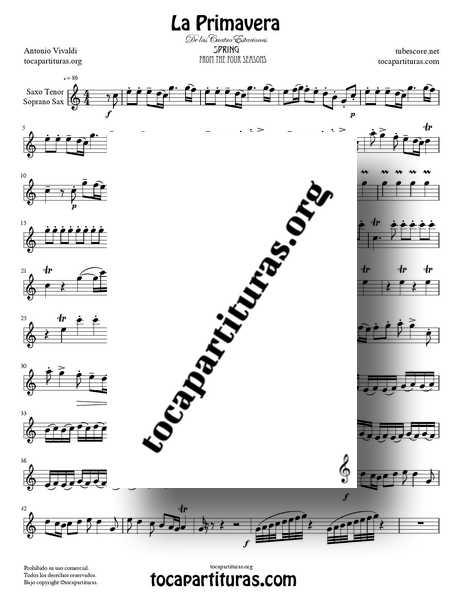 La Primavera de Vivaldi Partitura de Saxofón Tenor y Soprano Sax Completa Tono Do Mayor de las 4 Estaciones PDF y MIDI