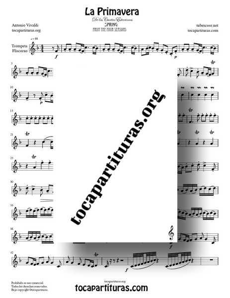 La Primavera de Vivaldi Partitura de Trompeta y Fliscorno Completa Tono Do Mayor de las 4 Estaciones MIDI PDF