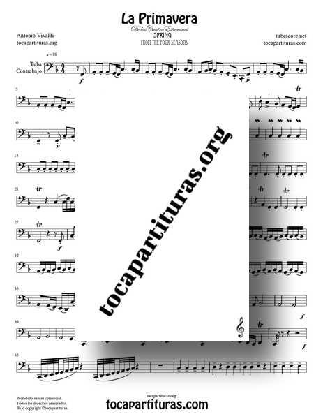 La Primavera de Vivaldi Partitura de Tuba y Contrabajo Completa Tono Fa M de las 4 Estaciones PDF MIDI