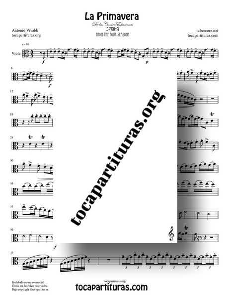 La Primavera de Vivaldi Partitura de Viola Completa en Do Mayor de las 4 Estaciones PDF MIDI