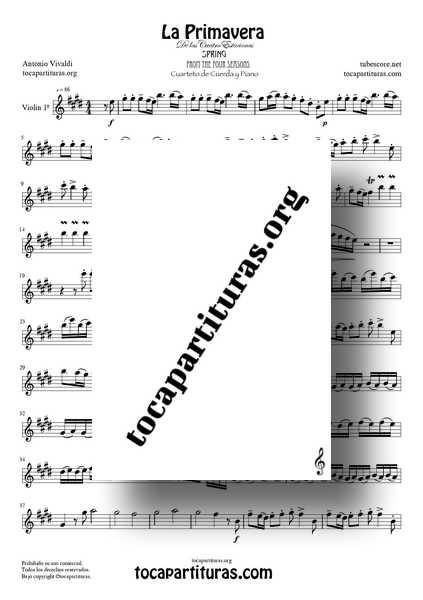 La Primavera de Vivaldi Partitura de Violín 1º CUARTETO DE CUERDA Tono Original de las 4 Estaciones MIDI
