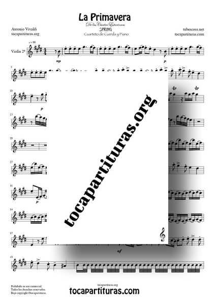 La Primavera de Vivaldi PDF Y MIDI Partitura de Violín 2º para CUARTETO DE CUERDA Tono Original de las 4 Estaciones