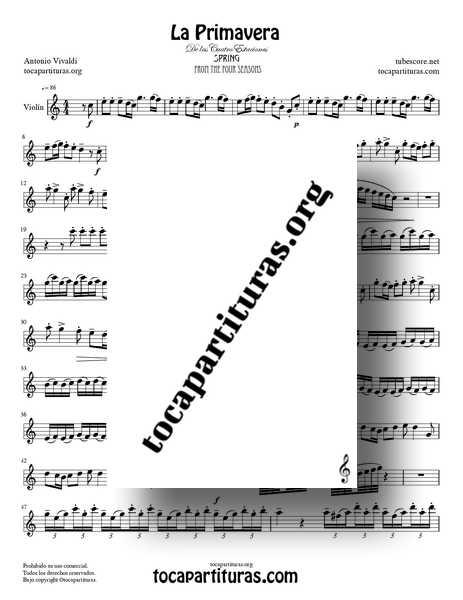 La Primavera de Vivaldi Partitura de Violín Completa en Do Mayor de las 4 Estaciones PDF MIDI