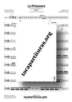 La Primavera de Vivaldi Partitura de Chelo para Cuarteto de Cuerdas en Mi Mayor (Tonalidad Original)