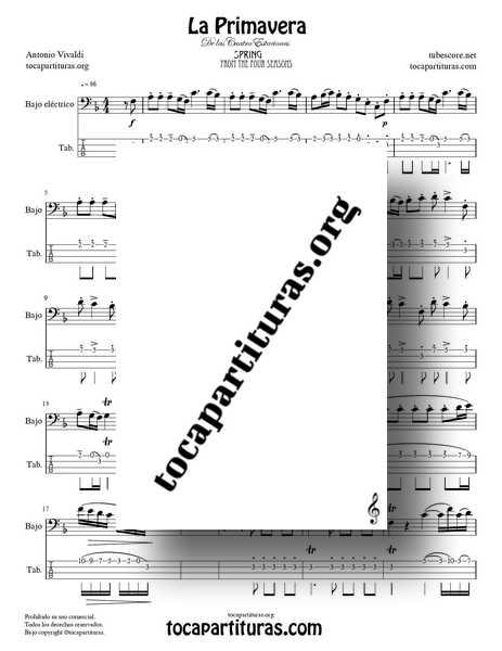 La Primavera de Vivaldi Partitura y Tablatura Punteo de Bajo Eléctrico Completa Tono FaM de las 4 Estaciones PDF MIDI