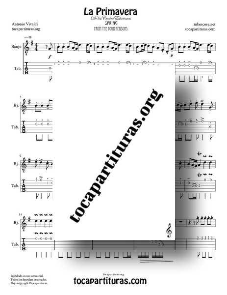 La Primavera de Vivaldi PDF MIDI Partitura y Tablatura Punteo de Banjo Completa en Sol Mayor de las 4 Estaciones Tabs