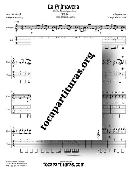 La Primavera de Vivaldi PDF MIDI Partitura y Tablatura Punteo de Guitarra Completa en Fa Mayor de las 4 Estaciones Tabs