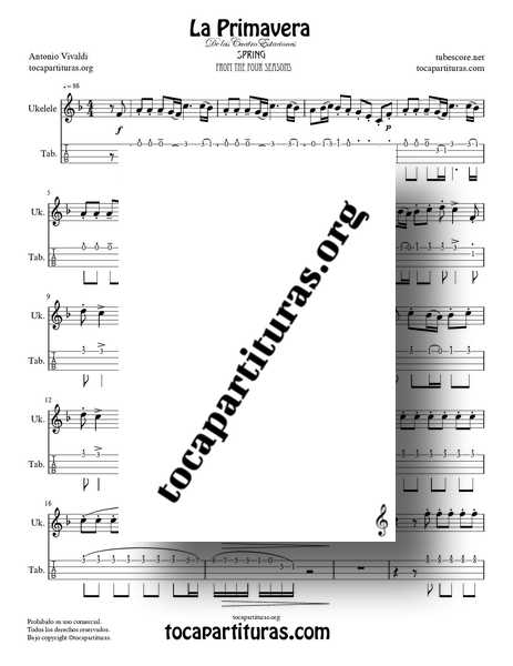 La Primavera de Vivaldi PDF MIDI Partitura y Tablatura Punteo de Ukelele Completa en Fa Mayor de las 4 Estaciones Tabs