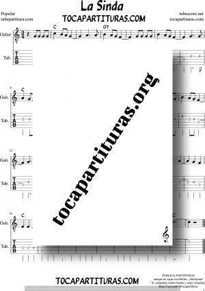 La Sinda Tablatura y Partitura del Punteo de Guitarra con acordes