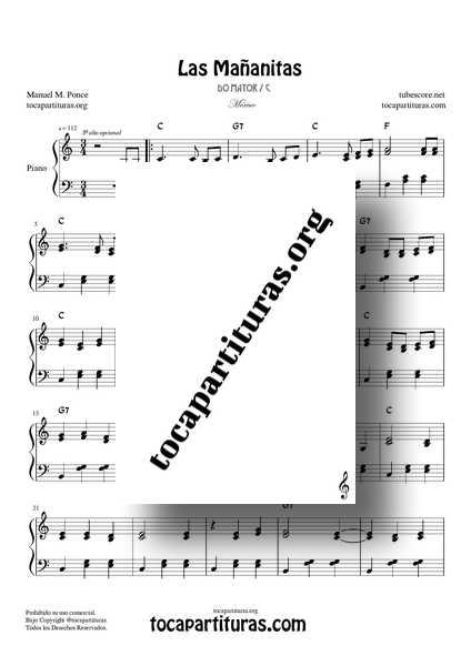 Las Mañanitas Partitura Completa de PIANO en DO Mayor a Dos Voces con Acordes y acompañamiento