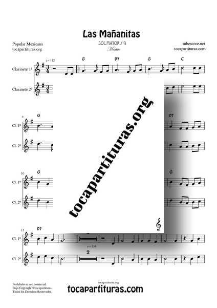 Las Mañanitas Partitura Dúo de Clarinete (1º y 2º) a dos voces
