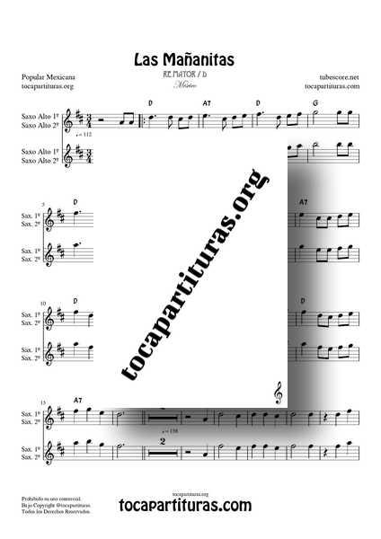 Las Mañanitas Partitura Dúo de Saxo Alto en Re Mayor (1ª y 2ª) a dos voces